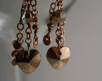 Rose gold cluster earrings