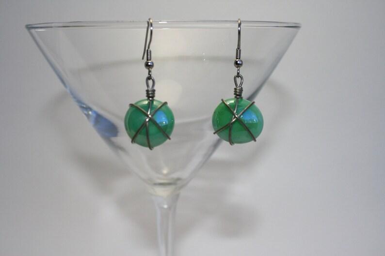 Light green wire wrapped earrings