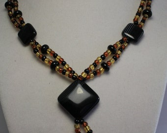 Agate and glass beaded necklace