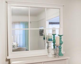 Window pane mirror etsy sold sample only large farmhouse window pane mirror wall decor teraionfo