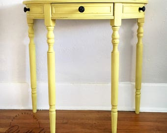 Yellow Table, Hallway Console, Entryway Half Moon, Half Circle Distressed  Table, Refurbished Halfmoon, English Yellow Drawer