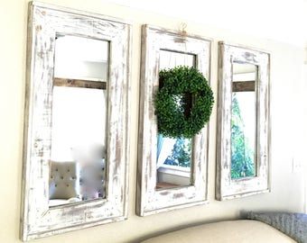 Rustic wall mirror etsy wood frame farmhouse set of three mirrors distressed rustic decorative mirrors reclaimed matching wall mirrors thecheapjerseys Image collections