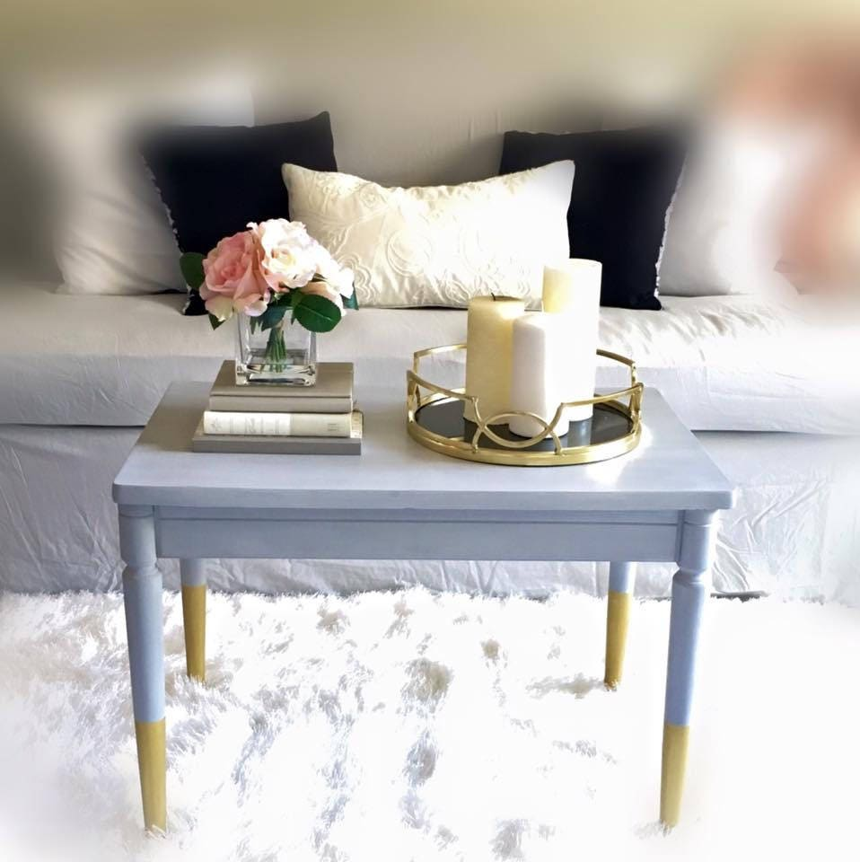 Shabby Chic Coffee Table Nz: SOLD. Modern Shabby Chic Furniture Grey Coffee Table Gold