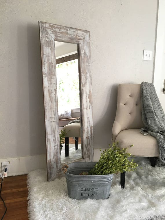 White Washed Rustic Floor Mirror Distressed Farmhouse Full