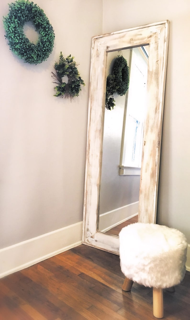Full Length Mirror, White Wash Floor Mirror. White Distressed Full Mirror.  Rustic Full Body Mirror.