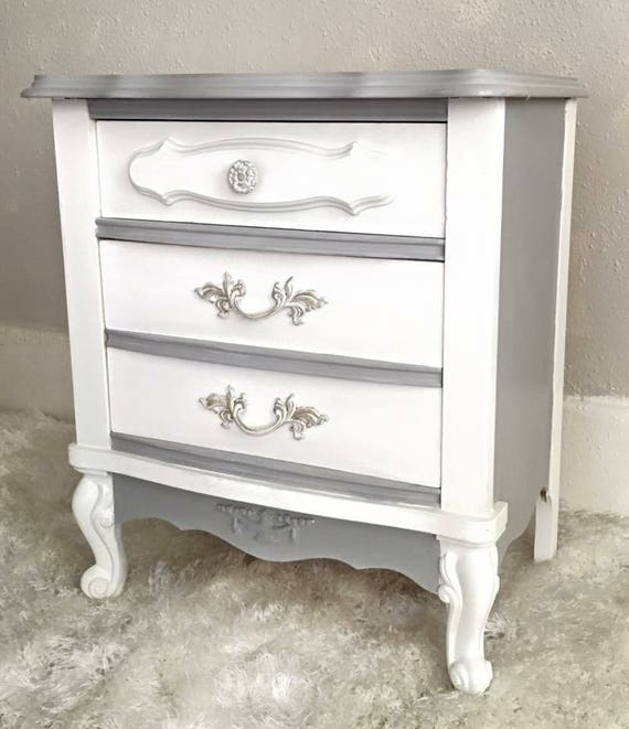 Sold Gray White Nightstand Shabby Chic Bedside Table Etsy