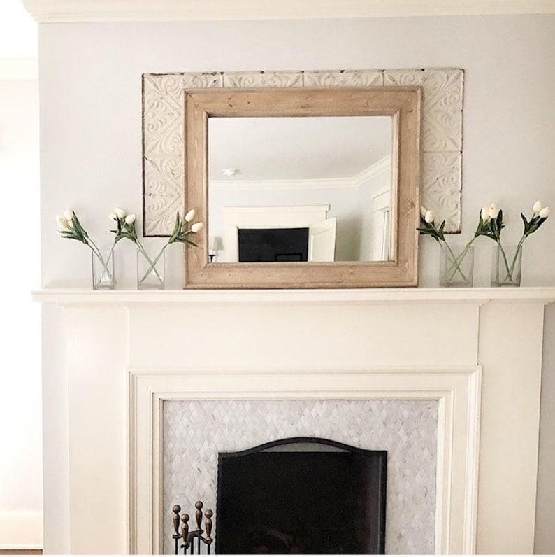 Rustic Vanity Mirror White Wax Wall Mirror White Wax Wooden Etsy