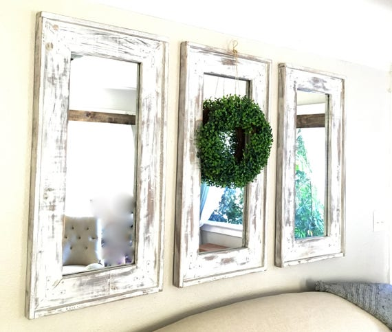 wood frame farmhouse set of three mirrors distressed rustic. Black Bedroom Furniture Sets. Home Design Ideas