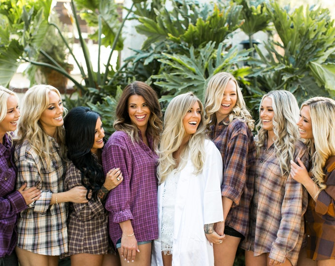 BURNT ORCHID, Bridesmaid flannel shirts, vintage flannels, button down shirts, bridesmaid robes alternative, bridesmaid gifts