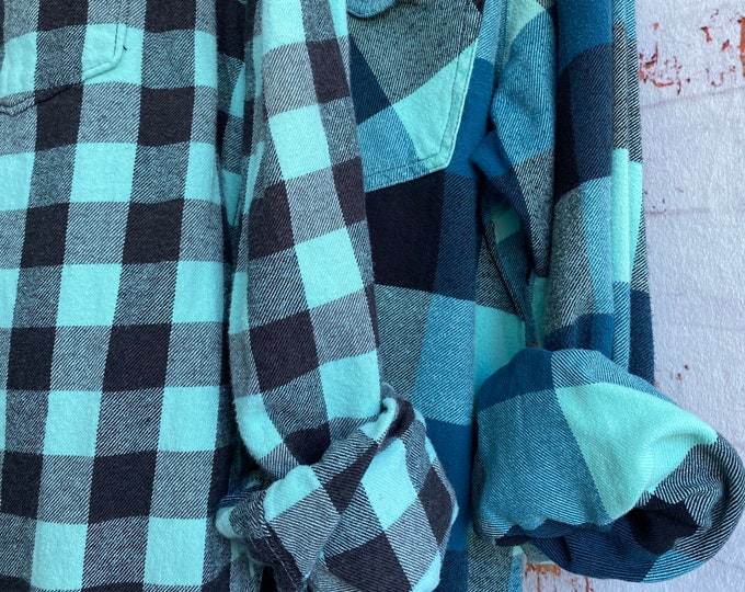 Small and Medium vintage flannel shirt, set of 2, minty green and aqua plaid, couples shirts