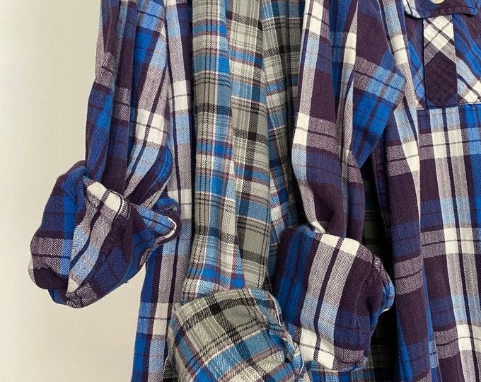 M/L vintage flannel shirts curated as a set of 3, colors are purple gray and blue plaid, medium large