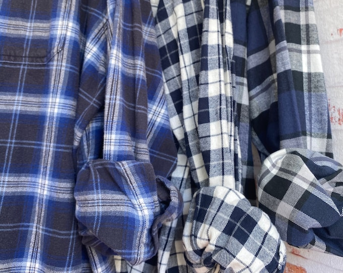 M/L Nightshirt Style vintage flannel shirts curated as a set of 3, blue and black plaids, medium large long length, flannel robe, bridesmaid