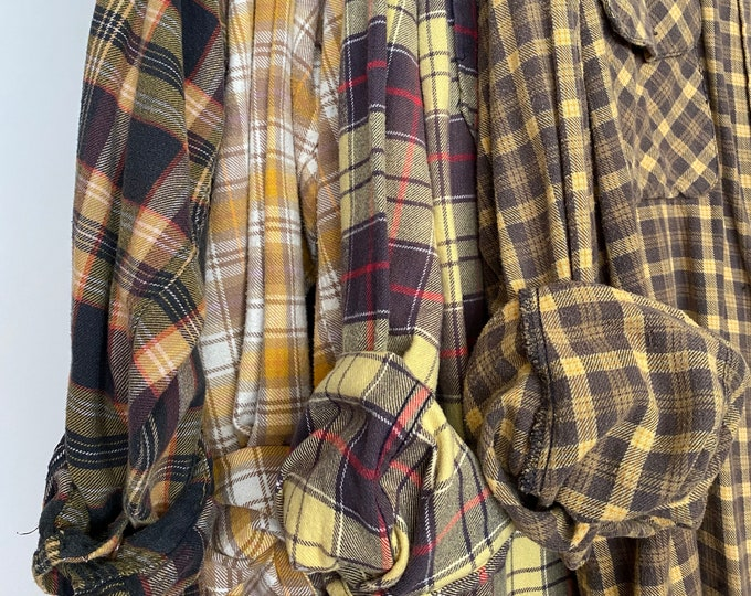 L/XL Nightshirt Style vintage flannel shirts curated as a set of 4,  colors are yellow gray purple gold mustard plum, large Xlarge