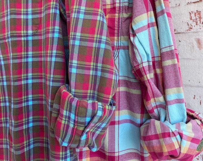 M/L vintage flannel shirt, set of 2, pink and aqua plaid, couples shirts