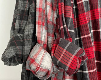 2X vintage flannel shirts curated as a set of 3 flannels in red, black and gray, XXL