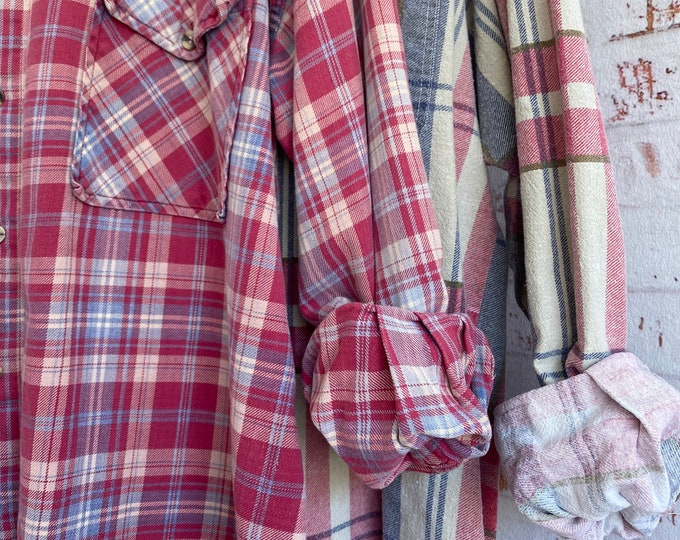 M/L vintage flannel shirts curated as a set of 2, pink and blue plaid, medium large, nightshirt, long flannels, bridesmaid shirts