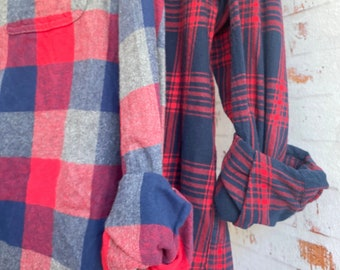 Medium and Large flannel shirt set of 2, red navy and gray plaid, couples shirts, unisex, bridesmaid flannels