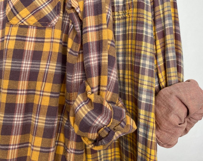 L/XL vintage flannel shirts curated as a set of 2, colors are purple and gold plaid, bridesmaid flannels, large Xlarge