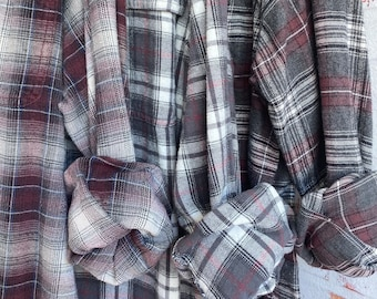 3X vintage flannel shirts curated as a set of 3, gray and wine plaid, XXXL big and tall