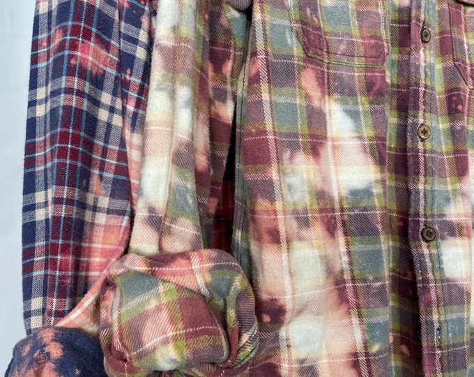 Medium vintage flannel shirts, set of 2 bleach distressed plaid flannels