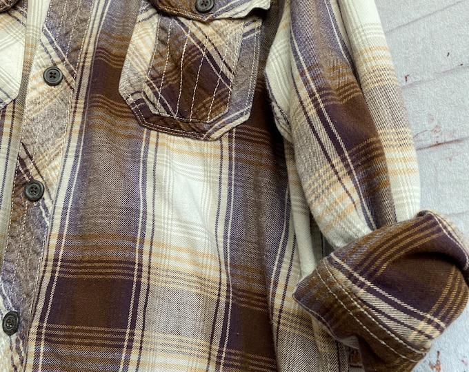 Large vintage flannel shirt brown purple and gold plaid L LG