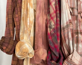 L/XL vintage flannel shirts curated as a set of 5, bleach distressed flannels, colors are blush pink purple and rose gold plaid