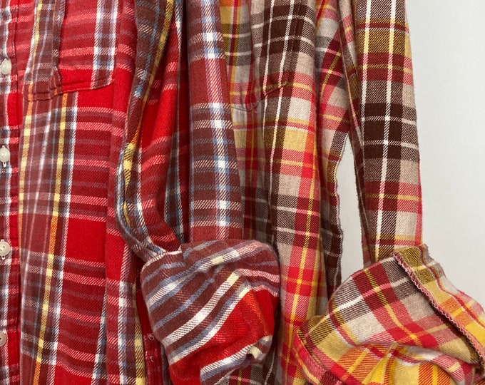 Medium and XLarge vintage flannel shirt, set of 2, coral with yellow and brown plaid, couples shirts