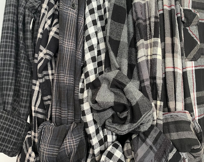 bridesmaid flannels curated as a set of 7, colors are black and gray plaid shirts, sizes include XS small medium