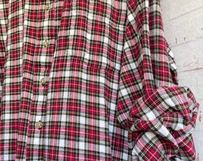 XL Tall vintage flannel shirt white with red holiday plaid, XLarge long nightshirt