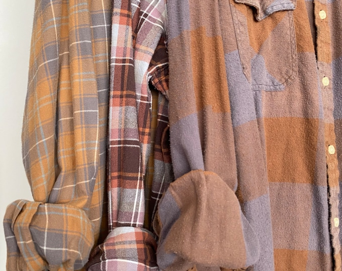 3 flannel shirts curated as a set of bridesmaid flannels, colors are purple mauve rust and copper, L/XL large Xlarge