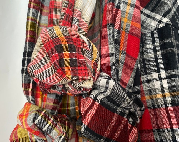 3 vintage flannel shirts curated as a set of bridesmaid flannels, colors are red black and yellow, L/XL large Xlarge