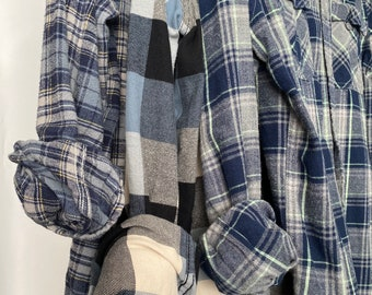 S/M vintage flannel shirts, set of 3 bridesmaid flannels, colors dusty blue and gray plaids