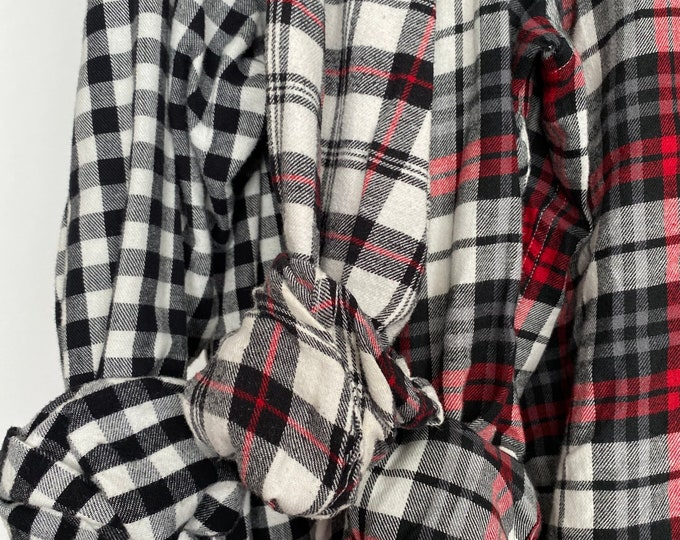 2X vintage flannel shirts curated as a set of 3 flannels, black and white with red, XXL
