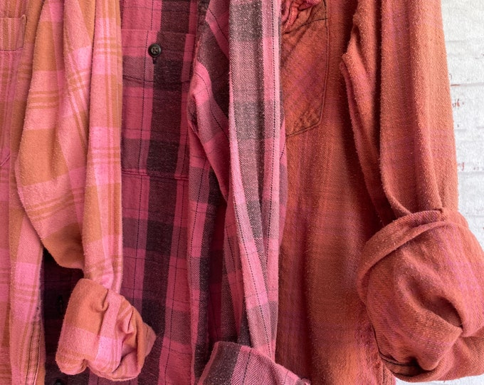 Small vintage flannel shirts curated as a set of 3 in pink sherbet plaid