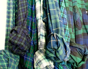 7 Nightshirt Style vintage flannel shirts curated as a set of bridesmaid robes, colors are green and blue, long length