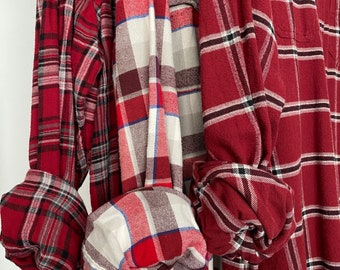 2X vintage flannel shirts curated as a set of 3 flannels, bridesmaid flannels, color burgundy with white bride shirt, XXL