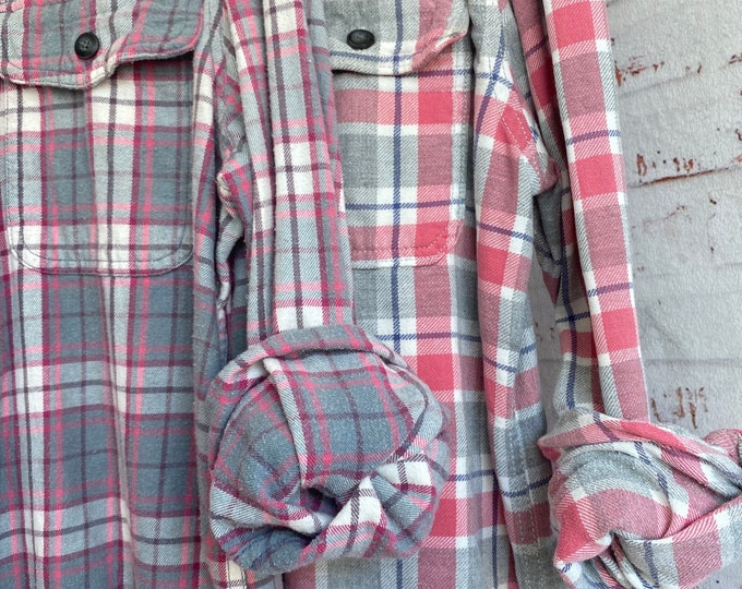 2 Large vintage flannel shirts, set of mismatched flannels, pink and gray plaid, L couples shirt or bridesmaids