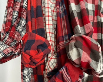 5 Medium vintage flannel shirts curated as a set of bridesmaid flannels, color red plaids with bride shirt