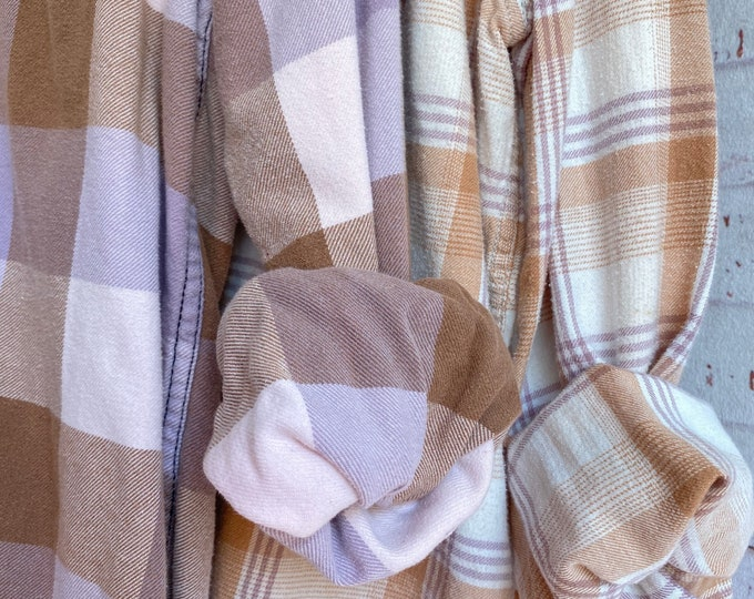 Medium and XLarge vintage flannel shirt, set of 2, lavender and tan plaid, couples shirts