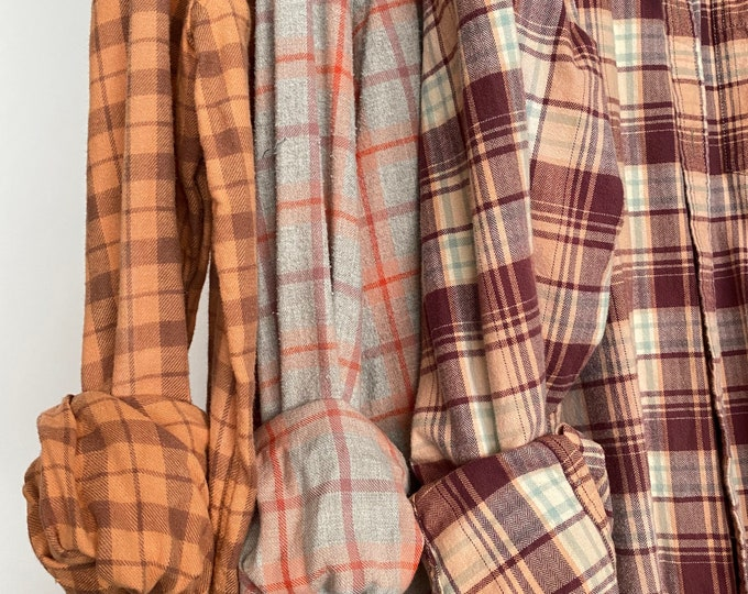 L/XL Nightshirt Style vintage flannel shirts curated as a set of 3 in peach and plum