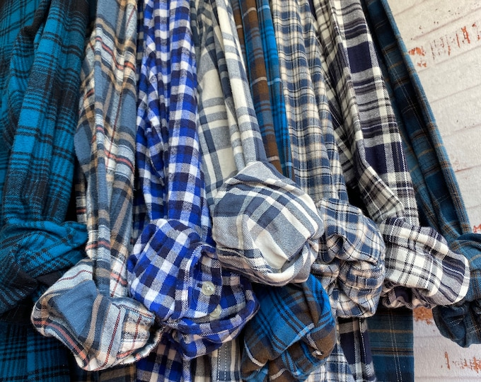 XS/S nightshirt style flannel shirts curated as a set of 8, blue plaids with mostly white bride shirt, bridesmaid flannels, small Xsmall,