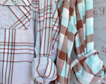Medium and Large vintage flannel shirt, set of 2, mint with cocoa brown plaid, couples shirts