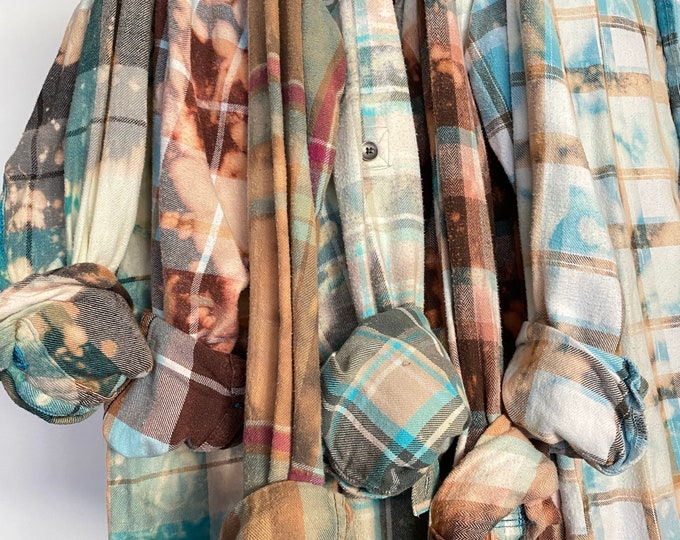 6 bleached flannels curated as a set, distressed turquoise, sizes include small medium large, mismatched vintage flannel for bridal party