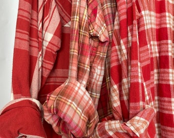 3 Nightshirt Style flannel shirts, set of bridesmaid robes, mismatched vintage flannels, coral red and rose gold, L/XL  long length