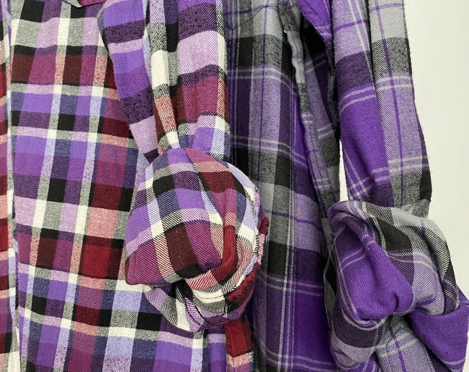 XL and 2X vintage flannel shirt, set of 2, couples shirts, colors are purple plum cranberry maroon gray plaid