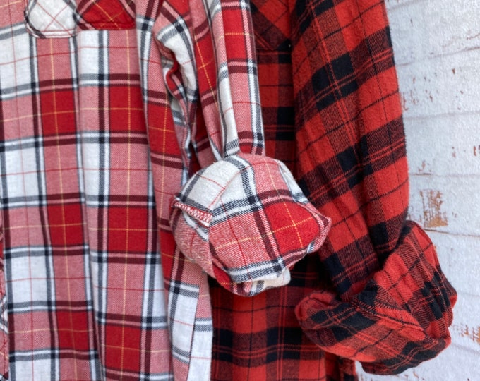 XL and 2X vintage flannel shirt, set of 2, burnt red and black plaid, couples shirts, Xlarge XXL