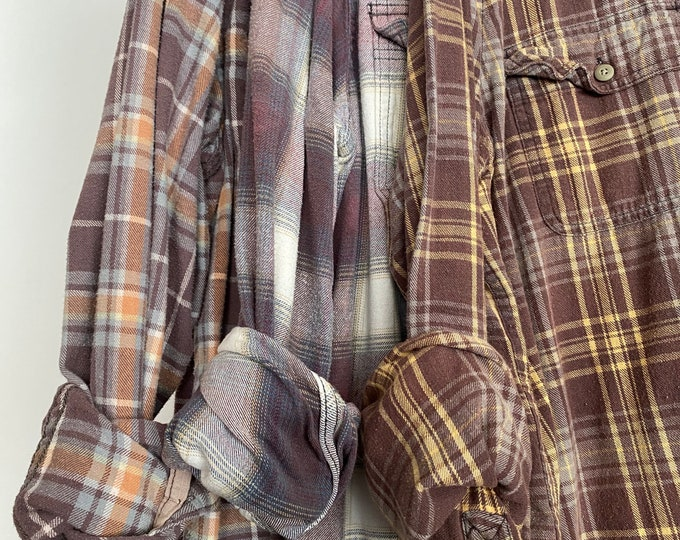 LARGE vintage flannel shirts curated as a set of 3 in purple mauve, gold and dusty blue plaid