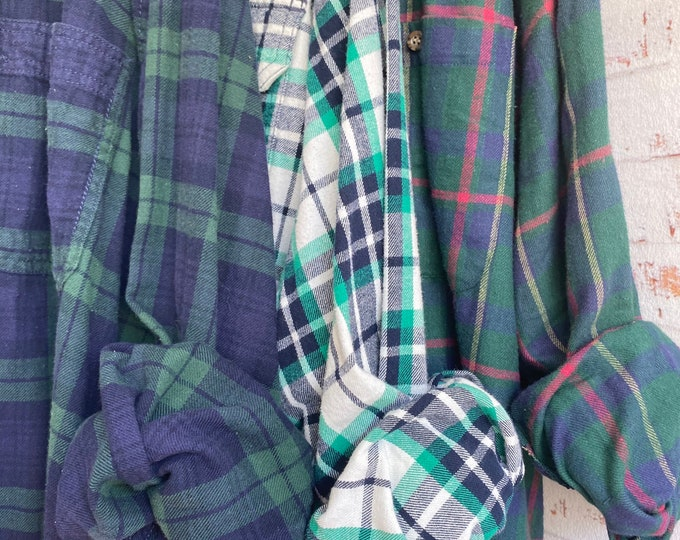 3X vintage flannel shirts curated as a set of 3 emerald plaid with bride shirt XXXL big and tall