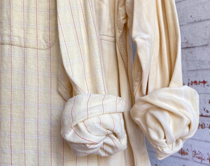 set of 2 Large vintage flannel shirts, mismatched flannels in ivory and yellow plaid, L couples shirt, slightly flawed