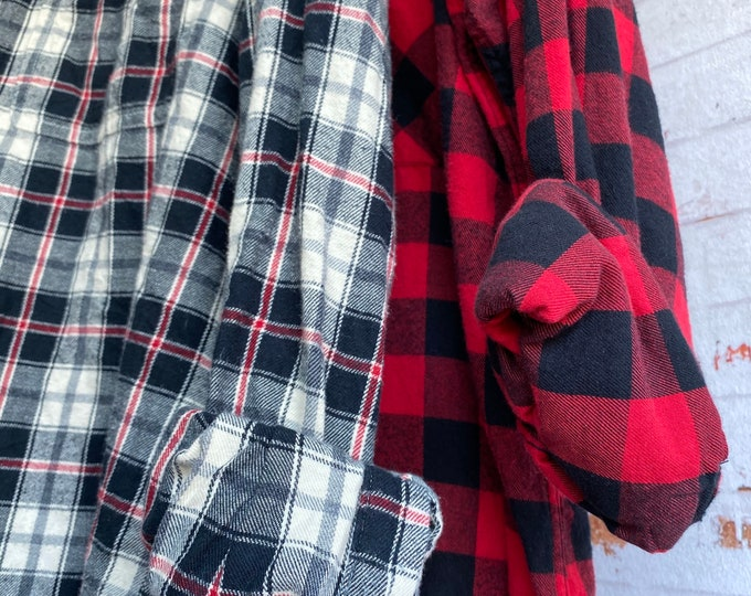 L/XL vintage flannel shirts curated as a set of 2, colors are red check and black and cream plaid, bridesmaid flannels, large Xlarge